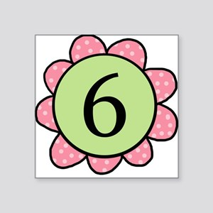 6 pink/green flower Square Sticker