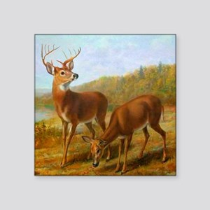 """Deer by Lake Square Sticker 3"""" x 3"""""""