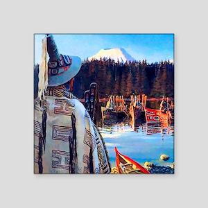 "Tlingit Canoes Square Sticker 3"" x 3"""