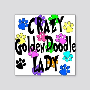 "Crazy Goldenddoodle Lady Square Sticker 3"" x 3"""