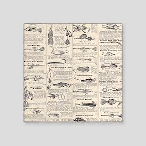 Fishing Lures Vintage Antique Newsprint Sticker