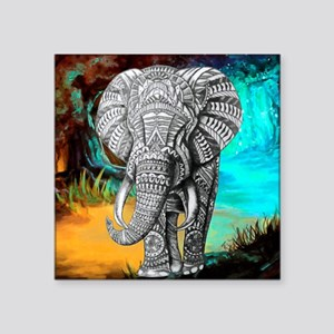 """African Elephant Square Sticker 3"""" x 3"""""""