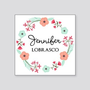 Personalized Floral Wreath Sticker