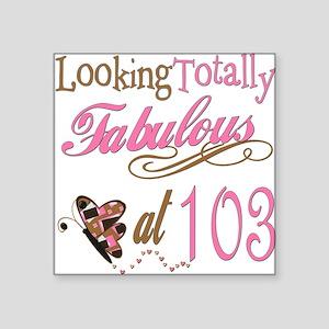 "FabPinkBrown103 Square Sticker 3"" x 3"""