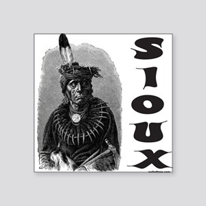 "SIOUX INDIAN CHIEF Square Sticker 3"" x 3"""