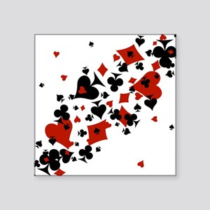 """Scattered Card Suits Square Sticker 3"""" x 3"""""""