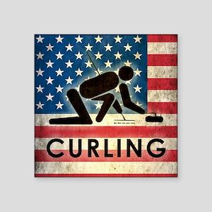 "Grunge USA Curling Square Sticker 3"" x 3"""