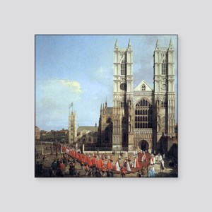"Canaletto Westminster Abbey Square Sticker 3"" x 3"""
