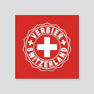"Verbier White Cross Square Sticker 3"" x 3"""