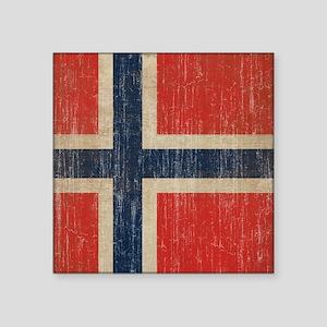 "Vintage Norway Flag Square Sticker 3"" x 3"""
