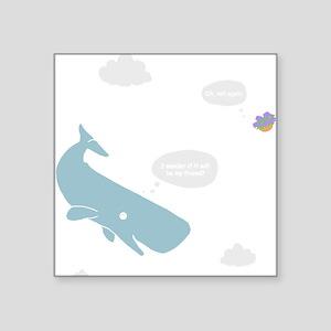 """Hitchhiker Whale & Petunia Square Sticker 3"""" x 3"""""""
