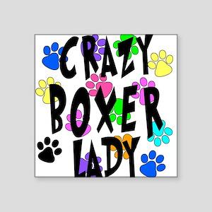"Crazy Boxer Lady Square Sticker 3"" x 3"""