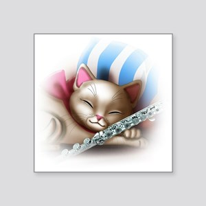 Napping Cat and Flute Sticker