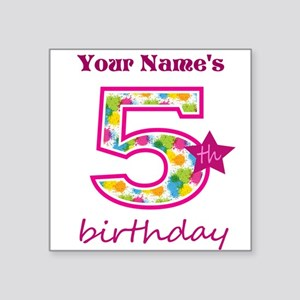 "5th Birthday Splat - Person Square Sticker 3"" x 3"""