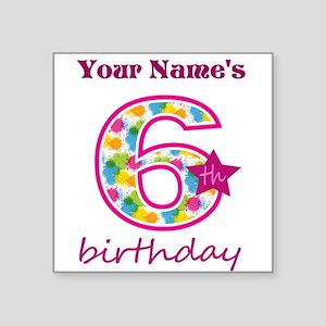 "6th Birthday Splat - Person Square Sticker 3"" x 3"""