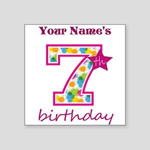 "7th Birthday Splat - Person Square Sticker 3"" x 3"""