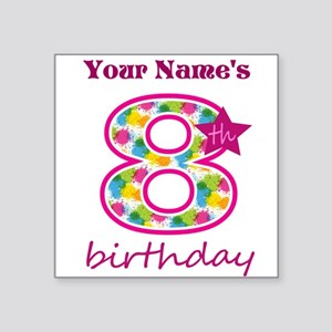 "8th Birthday Splat - Person Square Sticker 3"" x 3"""
