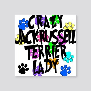 Crazy Jack Russell Terrier Lady Square Sticker 3""