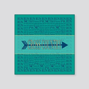Cross Country Running Collage Blue Square Sticker