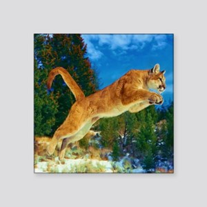 """Leaping Cougar Square Sticker 3"""" x 3"""""""