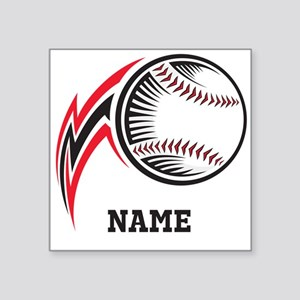 "Personalized Baseball Pitch Square Sticker 3"" x 3"""