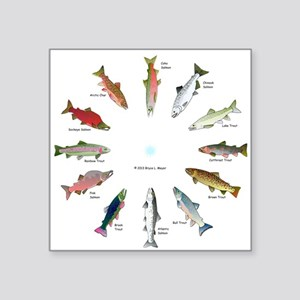 North American Salmon and Trouts Clocks Sticker