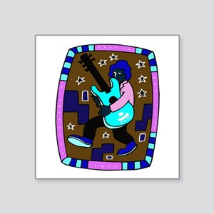 male carrying 5 string bass blue graphic Sticker