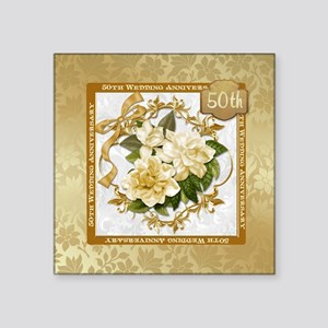 """Floral Gold 50th Wedding A Square Sticker 3"""""""