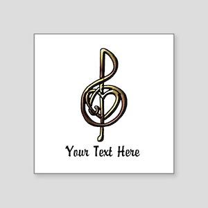 "Music Treble Clef Embossed Square Sticker 3"" x 3"""
