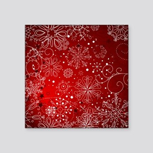 """SNOWFLAKES (RED) Square Sticker 3"""" x 3"""""""