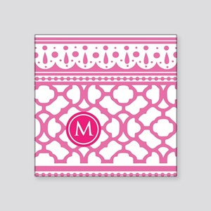 "Stylish Modern Monogram Square Sticker 3"" x 3"""