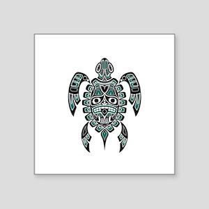 Teal Blue and Black Haida Sea Turtle Sticker