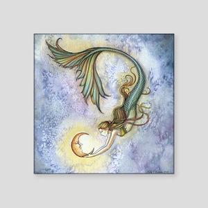 "Deep Sea Moon Mermaid Fanta Square Sticker 3"" x 3"""