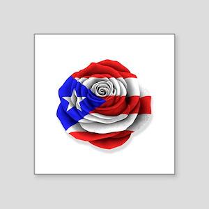 Puerto Rican Rose Flag on White Sticker