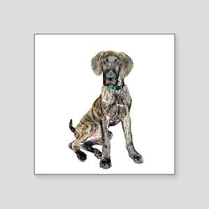 "Brindle Great Dane Pup Square Sticker 3"" x 3"""