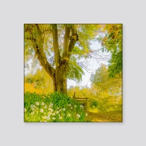 """Golden Scene with Tree and Square Sticker 3"""" x 3"""""""