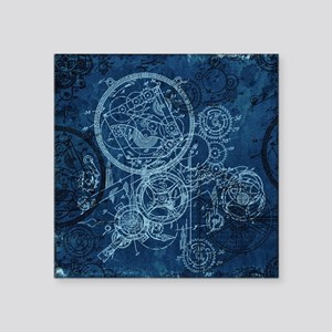 "Clockwork Collage Blue Square Sticker 3"" x 3"""