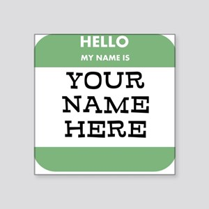 Custom Green Name Tag Sticker