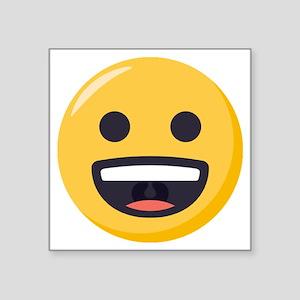 "Grinning-face Emoji Square Sticker 3"" x 3"""