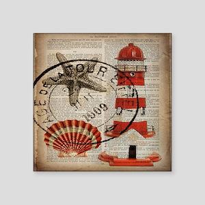 "vintage lighthouse sea shel Square Sticker 3"" x 3"""