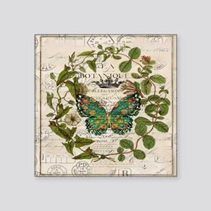 "vintage botanical art butte Square Sticker 3"" x 3"""