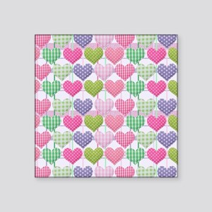 """Gingham Hearts Pastel Patte Square Sticker 3"""" x 3"""""""
