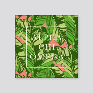 "Alpha Chi Omega Banana Leav Square Sticker 3"" x 3"""