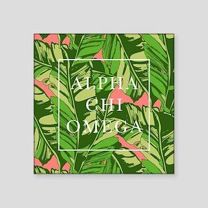 """Alpha Chi Omega Banana Leav Square Sticker 3"""" x 3"""""""