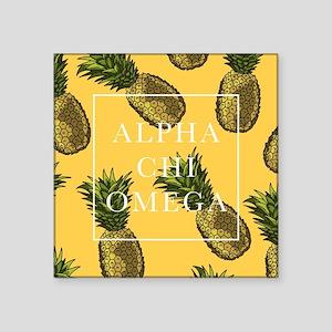 "Alpha Chi Omega Pineapples Square Sticker 3"" x 3"""