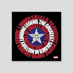 """Captain America Word Shield Square Sticker 3"""" x 3"""""""