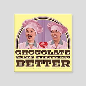 "I Love Lucy: Chocolate Make Square Sticker 3"" x 3"""