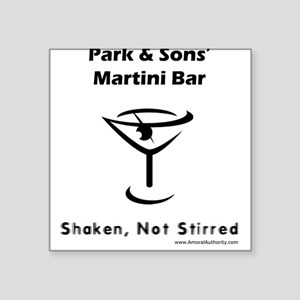 Park & Sons' Martini Bar Square Sticker (White