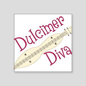"""Dulcimer Diva Square Sticker 3"""" x 3"""""""