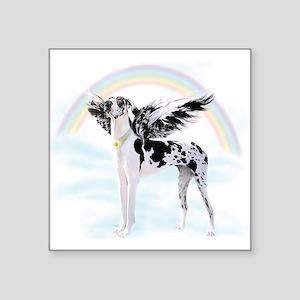 "Harlequin Great Dane Angel Square Sticker 3"" x 3"""